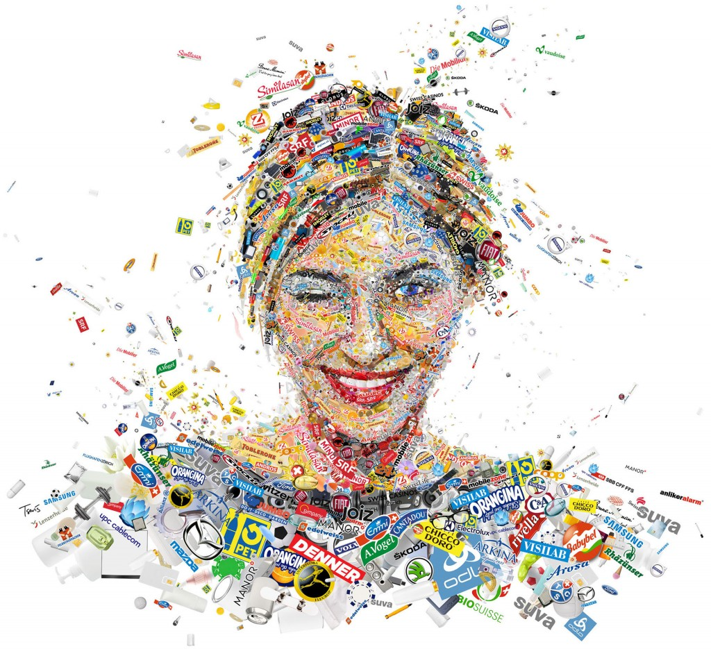 Mosaic illustration for the advertising campaign of Clear Channel in Switzerland