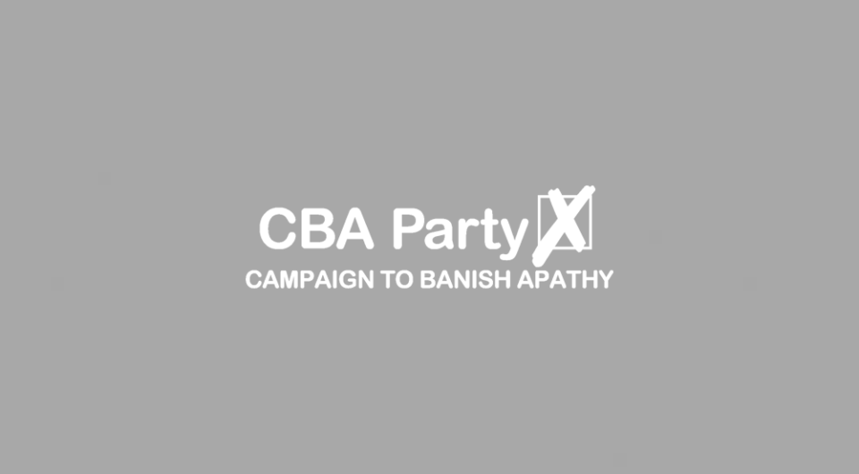 The CBA Party background.